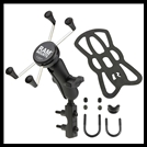 RAM Combination Brake/Clutch Reservoir U-Bolt Mount with Universal X-Grip Large Phone Cradle