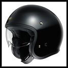SHOEI J-0 OPEN-FACE HELMET WITH SUN SHIELD VISOR SYSTEM - BLACK