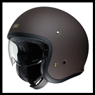 SHOEI J-0 OPEN-FACE HELMET WITH SUN SHIELD VISOR SYSTEM - MATTE BROWN