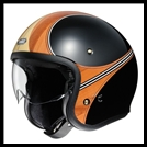 SHOEI J-0 OPEN-FACE HELMET WITH SUN SHIELD VISOR SYSTEM - WAIMEA TC-10