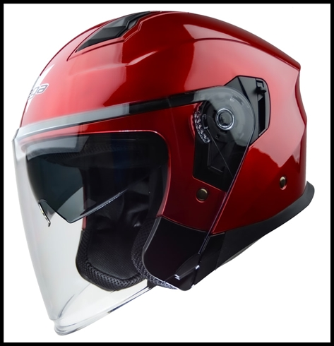 VEGA MAGNA OPEN FACE TOURING HELMET WITH FACE SHIELD AND DROP-DOWN SUNSHIELD - CANDY RED