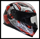 VEGA ULTRA FULL FACE HELMET - RED SHURIKEN GRAPHIC