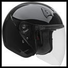 VEGA VTS1 OPEN FACE HELMET WITH VISOR, SHIELD, AND DROP-DOWN SUNSHIELD - GLOSS BLACK