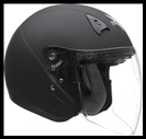 VEGA VTS1 OPEN FACE HELMET WITH VISOR, SHIELD, AND DROP-DOWN SUNSHIELD - MATTE BLACK